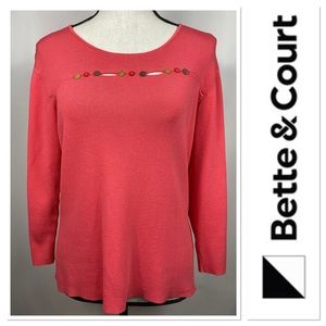 Bette & Court coral sweater with button details